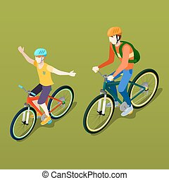 isometric, mensen., vader, illustratie, zoon, cyclist., vector, bicycle.