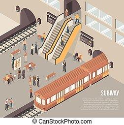 isometric, metro, cartaz, estação, metrô, subterrâneo