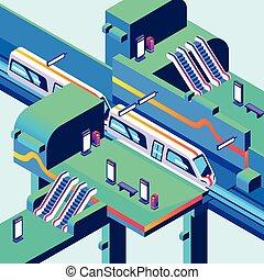 isometric, metro, pociąg, ilustracja, wektor, stacja