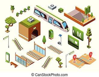 isometric, metro, trem, ilustração, vetorial, estação