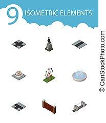isometric, miasto, komplet, od, bariera, park, ozdoba, rośliny, i, inny, wektor, objects., również, zawiera, skrzyżowanie dróg, woda, szosa, elements.