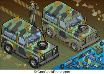 Isometric Military Jeep with Soldier in Front View -...