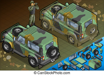 Isometric Military Jeep with Soldier in Rear View - Detailed...