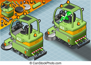 Isometric Mini Cleaner Machine with Man at Work in Rear View...