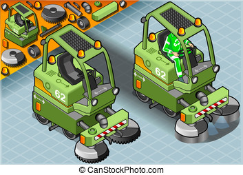 Isometric Mini Cleaner Machine with Man at Work in Front...