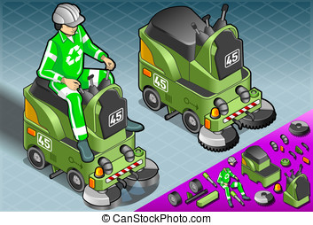 Isometric Mini Cleaner Machine with Man at Work - Detailed...