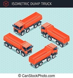 Isometric dump truck with front and rear views. 3d vector transport icon. Highly detailed vector illustration