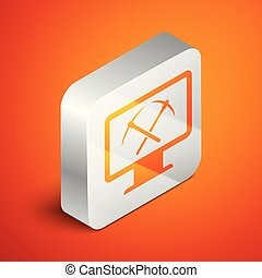 Isometric Mining concept with monitor and pickaxe icon isolated on orange background. Blockchain technology, cryptocurrency mining, digital money market. Silver square button. Vector Illustration