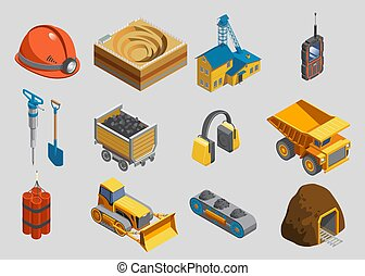 Isometric mining elements set with helmet quarry factory radio drill shovel trolley protective headphones truck dynamite bulldozer conveyor mine isolated vector illustration
