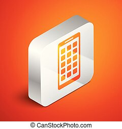 Isometric Mobile Apps icon isolated on orange background. Smartphone with screen icons, applications. mobile phone showing screen. Silver square button. Vector Illustration
