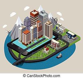 Isometric Mobile City Concept