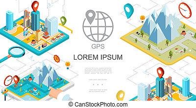 Isometric Mobile GPS Navigation Composition