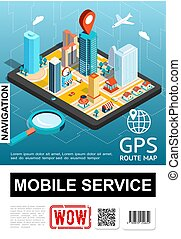 Isometric Mobile Navigation Service Poster