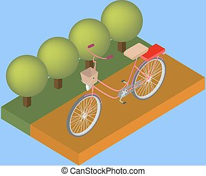 Isometric model of bicycle on the road with trees