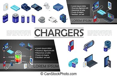 Isometric Modern Chargers Composition