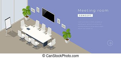 Isometric modern meeting room interior with empty poster on concrete wall, equipment