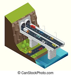 Isometric Modern Road Tunnel in the Mountain. Highway with tunnel vector isolated illustration.