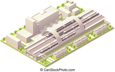 Isometric modern train station - Vector isometric train...