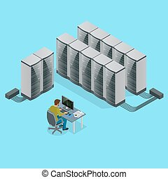 Isometric Modern web network and internet telecommunication technology, big data storage and cloud computing computer service business concept server room interior in data center