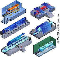 isometric, modernos, jogo, estrada ferro, transporte