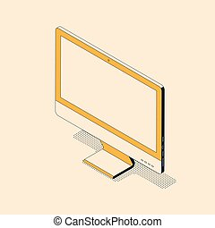 isometric, monitor, textured, estilo, computador desktop, screen., em branco, trendy, sombra