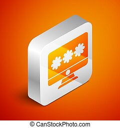 Isometric Monitor with password notification icon isolated on orange background. Security, personal access, user authorization, login form. Silver square button. Vector Illustration