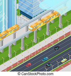 Isometric Monorail Railway Train in Modern City with...
