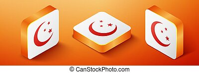 Isometric Moon and stars icon isolated on orange background. Orange square button. Vector