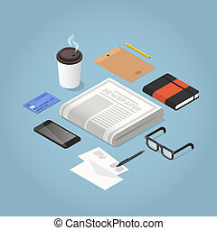 Isometric Morning Newspaper Illustration - Isometric vector...