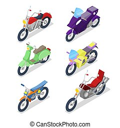 Isometric Motorcycle Set with Motocross and Biker Bike. Vector flat 3d illustration