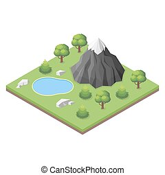 Isometric mountain lake in the woods.