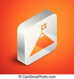 Isometric Mountains and flag on top icon isolated on orange background. Symbol of victory or success concept. Silver square button. Vector Illustration