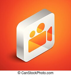 Isometric Movie or Video camera icon isolated on orange background. Cinema camera icon. Silver square button. Vector Illustration