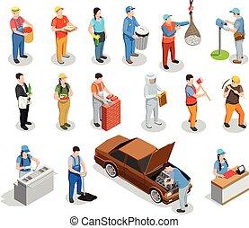 isometric, munkás, fogadalmak, emberek