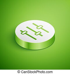 Isometric Music equalizer icon isolated on green background. Sound wave. Audio digital equalizer technology, console panel, pulse musical. White circle button. Vector