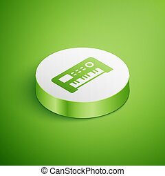 Isometric Music synthesizer icon isolated on green background. Electronic piano. White circle button. Vector