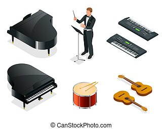 Isometric Musical instruments icons vector realistic set