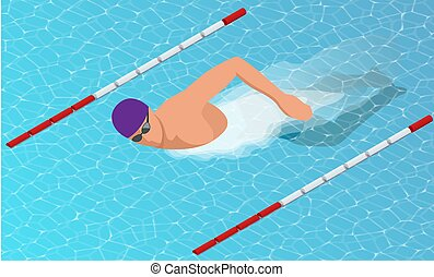 isometric, nadadores, lanes., estilo, livre, diferente, macho, natação