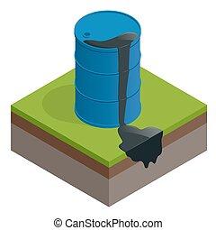 isometric, naftowy tambor, fidybus, odizolowany, albo, tło., waste., wektor, brudny, biały, baryłka