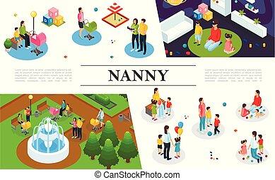 Isometric Nanny Work Concept - Isometric nanny work concept...
