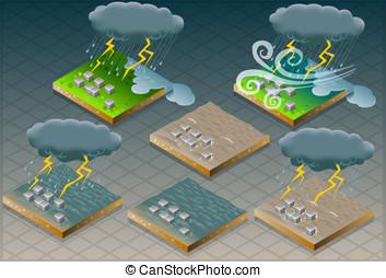 isometric natural disaster flood mu - Detailed illustration...