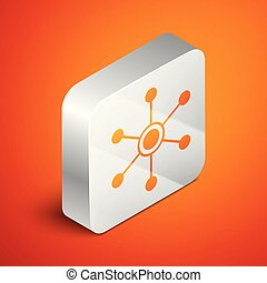 Isometric Network icon isolated on orange background. Global network connection. Global technology or social network. Connecting dots and lines. Silver square button. Vector Illustration