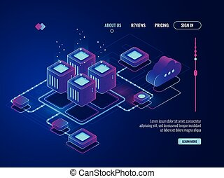 Isometric networking conncetion, internet network topology concept, server room, data center and database icon