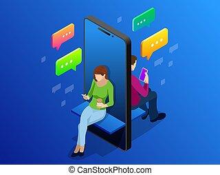 isometric, networking, conversando, concept., social, adolescentes, ilustração, vetorial, trends., online, novo, internet., namorando, tecnologia, vício