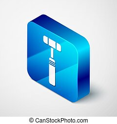 Isometric Neurology reflex hammer icon isolated on grey background. Blue square button. Vector Illustration