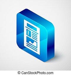 Isometric News icon isolated on grey background. Newspaper sign. Mass media symbol. Blue square button. Vector
