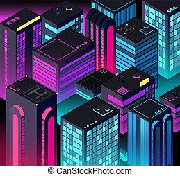 Isometric night city. 3d illuminated buildings. Future urban landscape. Vector illustration