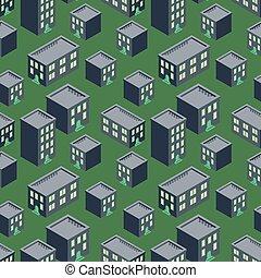 Isometric night town view seamless cartoon flat vector pattern.