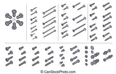isometric, nootjes, spijkers, schroeven, aanzicht