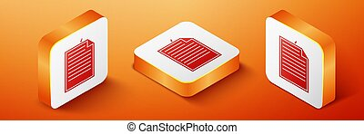 Isometric Note paper with pinned pushbutton icon isolated on orange background. Memo paper sign. Orange square button. Vector